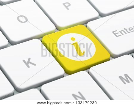 Web development concept: computer keyboard with Information icon on enter button background, selected focus, 3D rendering