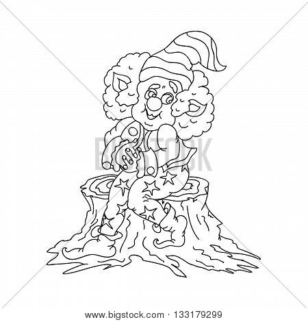 Happy Gnome kids coloring page isolated on hite