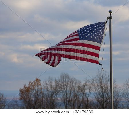 American flag flying atop the Blue Ridge overlooking the Shenandoah Valley