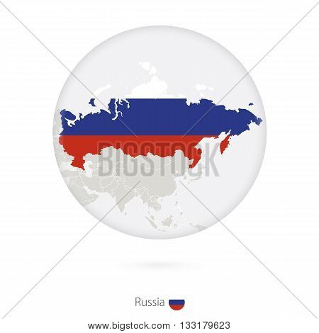 Map Of Russia And National Flag In A Circle.