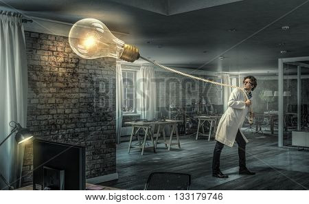 Doctor with bulb balloon