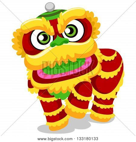 Vector Illustration of Lion Dance for Chinese New Year