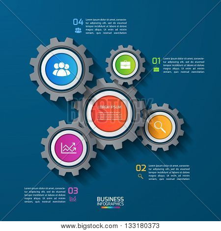 Vector infographic template with gears cogwheels. Business and industrial concept with 4 options parts steps. Can be used for infographics diagram graph presentation report.