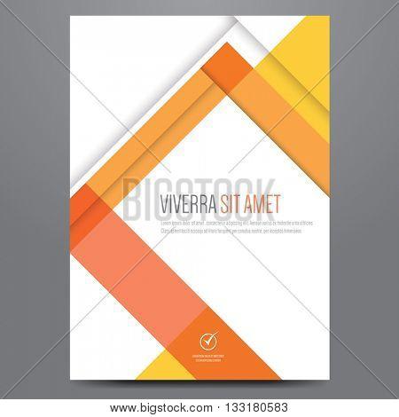 Flyer, brochure, poster, annual report, magazine cover vector template. Modern orange corporate flat design.