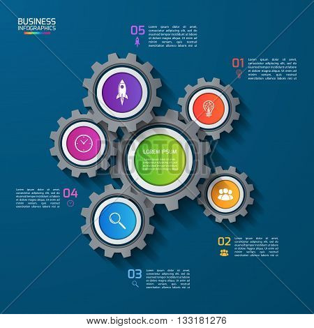 Vector infographic template with gears cogwheels. Business and industrial concept with 5 options parts steps. Can be used for infographics diagram graph presentation report.