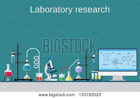 Lab worker table computer chemical research process. Pharmaceutical pharmacology science laboratory. Science, education, chemistry, experiment, laboratory concept. vector illustration in flat design