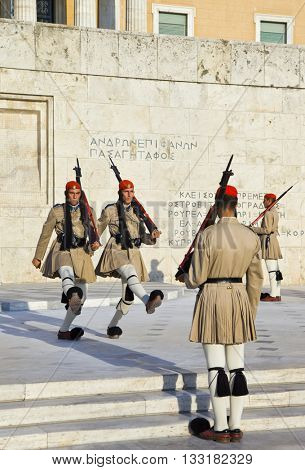 ATHENS, GREECE - AUGUST 14: Changing guards near parliament on September 14, 2010 in Athens, Greece.