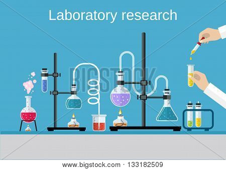 Chemists scientists equipment. flat design workspace concept. Chemistry and physics biology infographic icons. Laboratory lab with alembic vial hourglass dropper, vector illustration