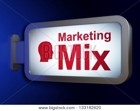 Marketing concept: Marketing Mix and Head on advertising billboard background, 3D rendering
