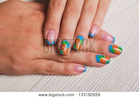 Summer French Blue Nail Art With Painted Orange Fruit