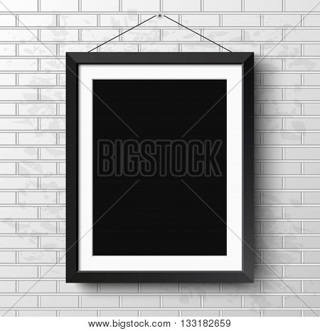 Realistic black frame on light grunge brick wall. Perfect for your presentations Vector illustration. frame for your projects