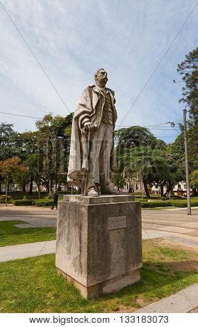PORTO PORTUGAL - MAY 26 2016: Monument to Ramalho Ortigao in the historical center of Porto (UNESCO site). Jose Duarte Ramalho Ortigao (1836-1915) was a famous Portuguese writer
