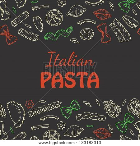 Horizontal seamless background with Italian pasta. Vector illustration for your design