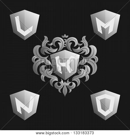Decorative Ornate monogram emblem template. Stylish set of vector monograms. Silver shield with crown and letters from K to O.