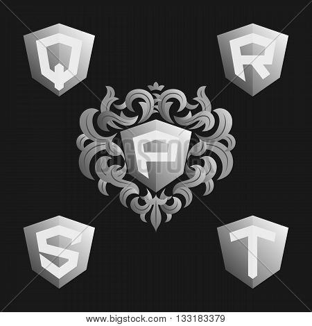 Decorative Ornate monogram emblem template. Stylish set of vector monograms. Silver shield with crown and letters from P to T.