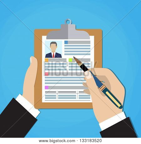 Resume form in the hands. Clipboard in hand with leaf resume. Man fills in questionnaire. Writing business resume on job. Concept of employment. vector illustration in flat design.. CV application.