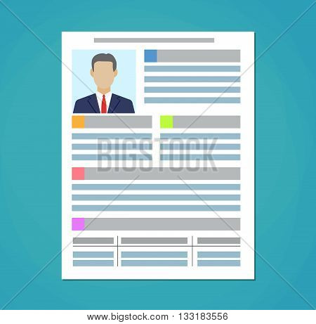 Human resources management concept, searching professional staff, analyzing resume papers, work. Human resources management concept. vector illustration in flat design on green background