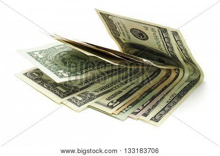 US Dollar Notes on White Background