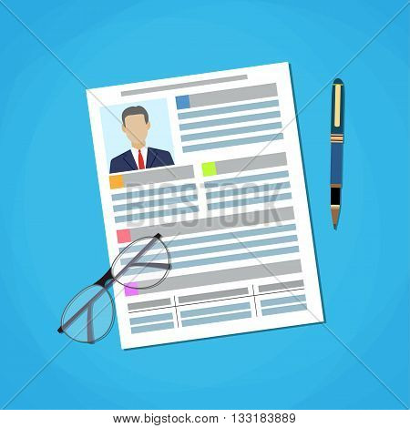 Illustration Writing a Business CV Resume Concept, Flat icon of Document, Pen, Glasses. Human resources management concept. vector illustration in flat design