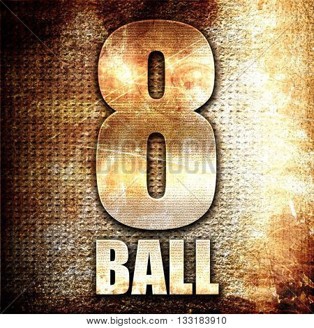 8 ball, 3D rendering, metal text on rust background