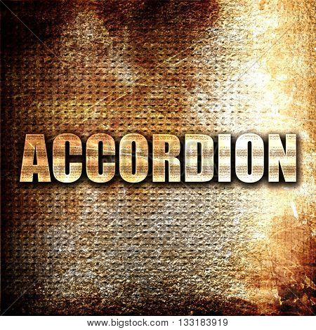 accordion, 3D rendering, metal text on rust background