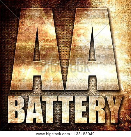 aa battery, 3D rendering, metal text on rust background