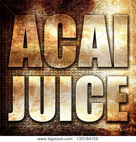 acai juice, 3D rendering, metal text on rust background