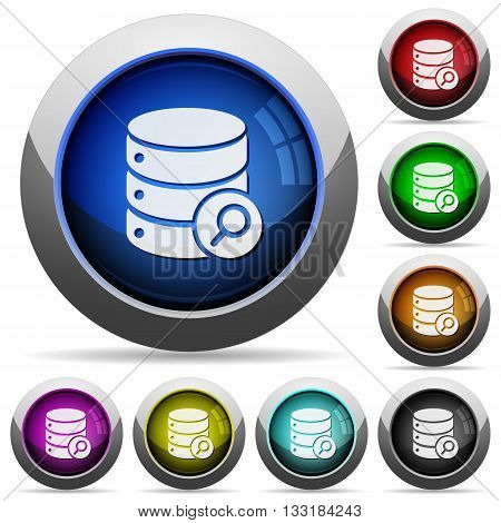 Set of round glossy database search buttons. Arranged layer structure.