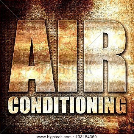 air conditioning, 3D rendering, metal text on rust background