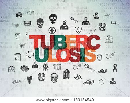 Health concept: Painted multicolor text Tuberculosis on Digital Data Paper background with  Hand Drawn Medicine Icons