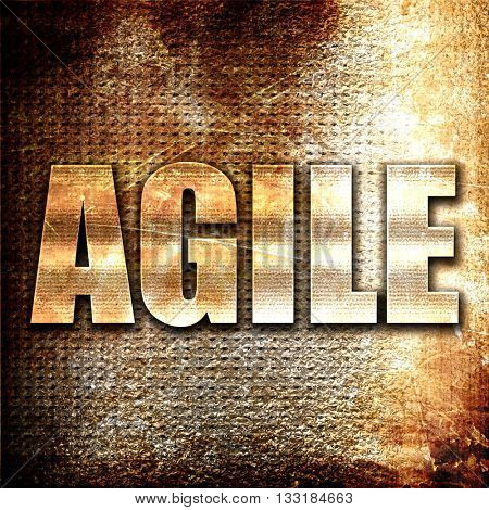 agile, 3D rendering, metal text on rust background
