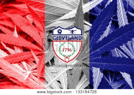 Flag Of Cleveland, Ohio, On Cannabis Background