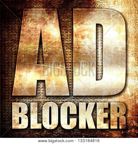 ad blocker, 3D rendering, metal text on rust background