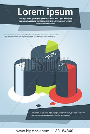 Business Financial Cylinder Chart Diagram Flyer Cover Design Page Template Vector Illustration