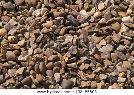 Pebbles And Stones On River Bank Showing Colorfull And Varied Shapes And Patterns