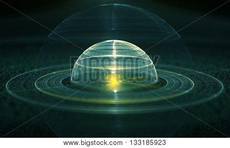 Abstract orb. Decorative fractal design on a black background. 3D illustration