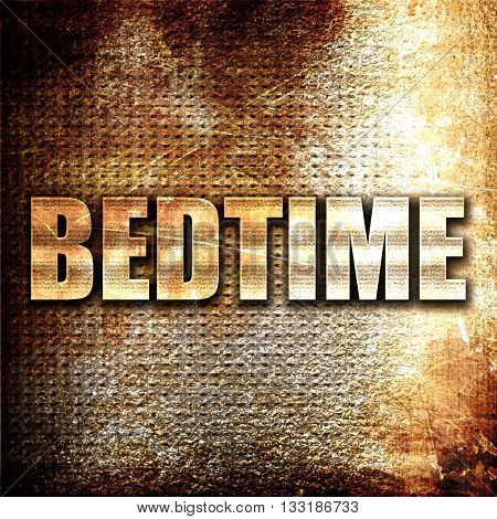 bedtime, 3D rendering, metal text on rust background