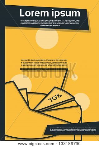 Pie Diagram With Percentage Financial Graph Flyer Cover Design Page Template Vector Illustration