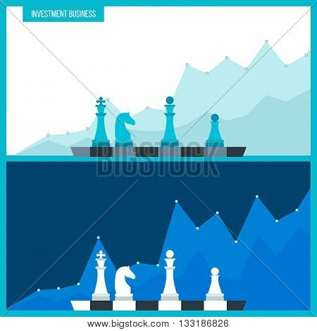 Flat line design concept for investment, finance, market data analytics, strategic management. Strategy for successful business. Investment growth.