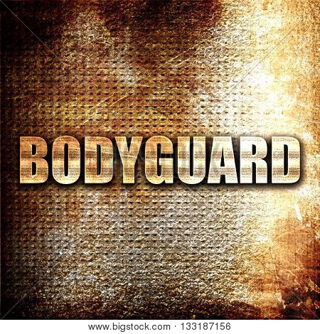 bodyguard, 3D rendering, metal text on rust background