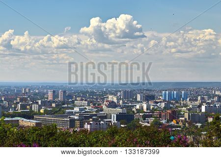 View of town Saratov from an observation deck from Victory park