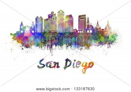 San Diego skyline in watercolor splatters with clipping path