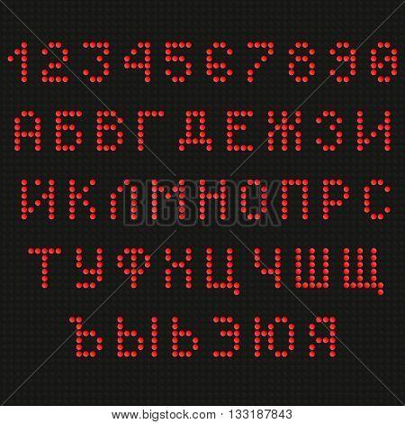 Cyrillic font. Digital scoreboard font. LED font. Russian font. Uppercase font. Information table font. Red Letters Font