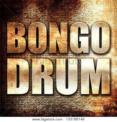 bongo drum, 3D rendering, metal text on rust background