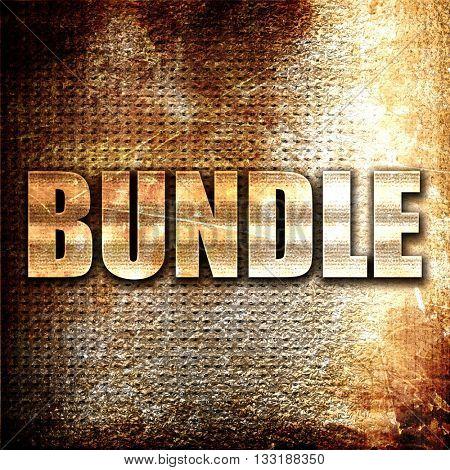 bundle, 3D rendering, metal text on rust background