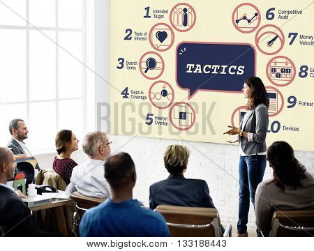 Business Analytics Strategy Methods Tactics Graphic Concept