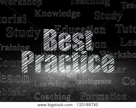 Education concept: Glowing text Best Practice in grunge dark room with Dirty Floor, black background with  Tag Cloud