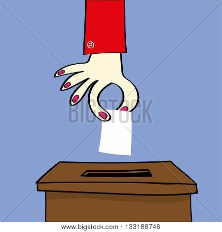 Hand of a woman or girl about to place their vote by dropping a ballot paper into the voting box