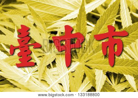 Flag Of Taichung, Taiwan, On Cannabis Background