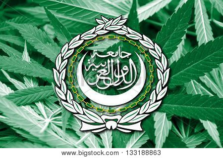 Flag Of The Arab League, On Cannabis Background